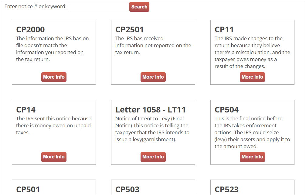 Search IRS CP2000 Notices