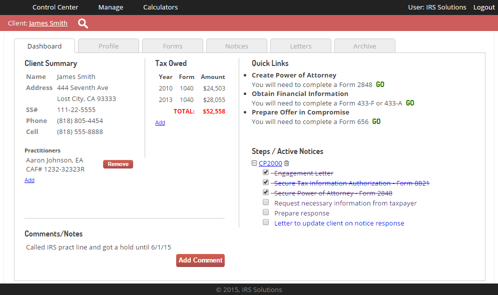 IRS Solutions Dashboard