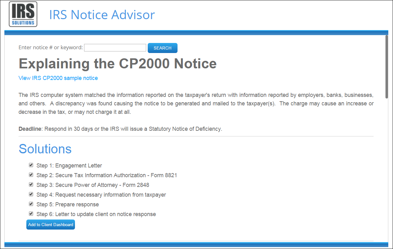 Irs Notice Advisor  Irs Solutions Software
