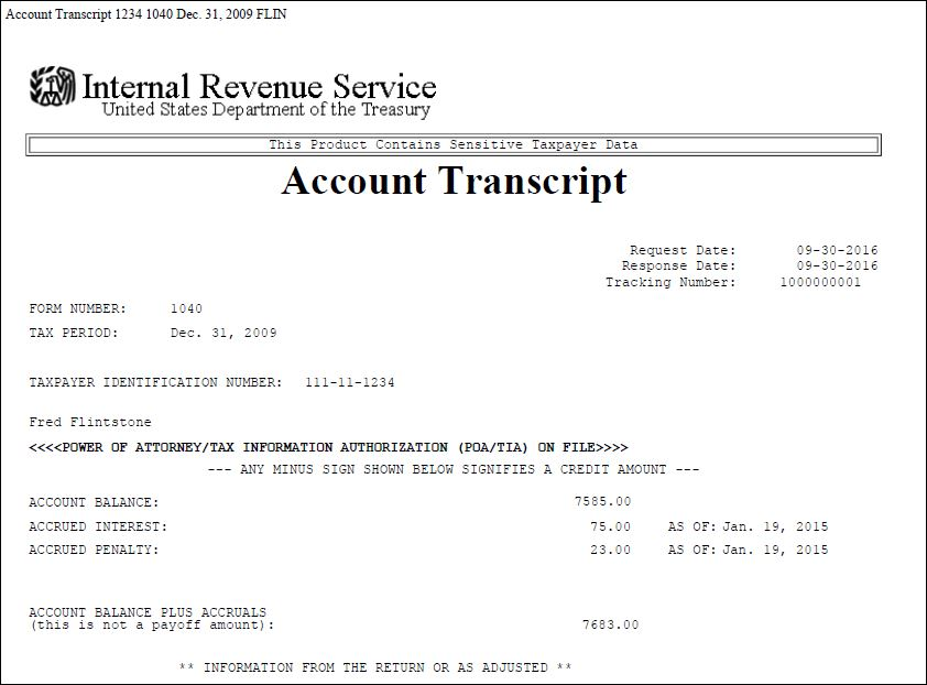 IRS Account Transcript