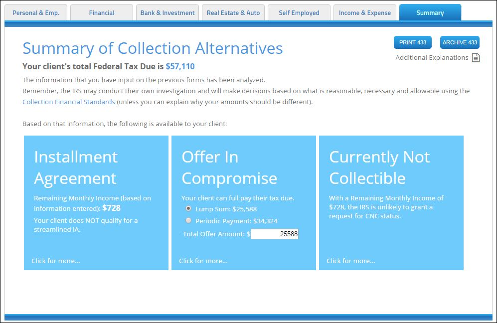 IRS Collection Alternatives