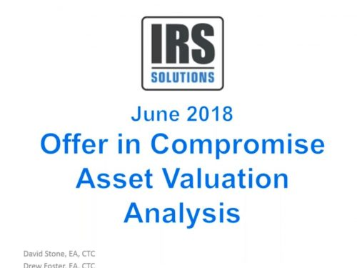June 2018 Case Study Webinar Irs Et Valuation For Collection Purposes