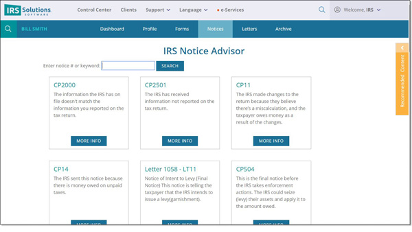 IRS Notice Advisor | IRS Solutions Software