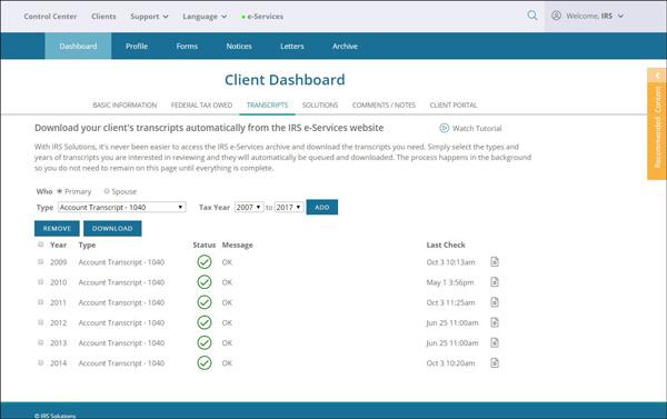 IRS Transcript Analyzer | IRS Solutions Software